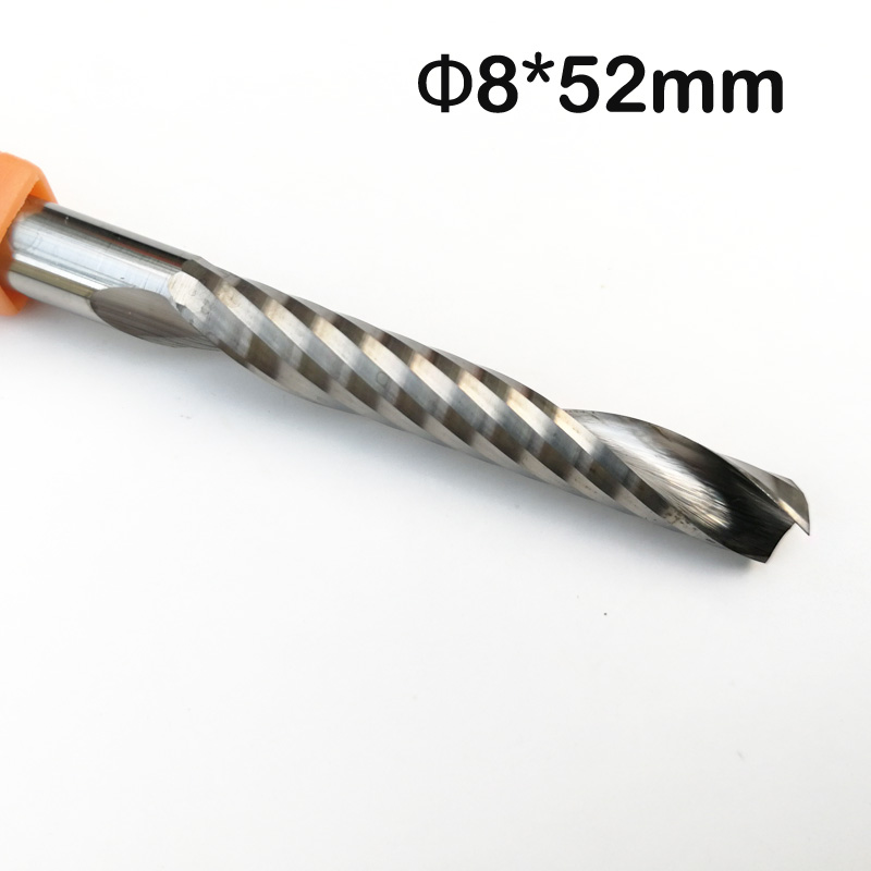 8mm SHK 52mm CEL Carbide CNC Router Bits One Flutes Spiral End Mills Single Flutes Milling Cutter Spiral PVC Wood Acrylic Cutter