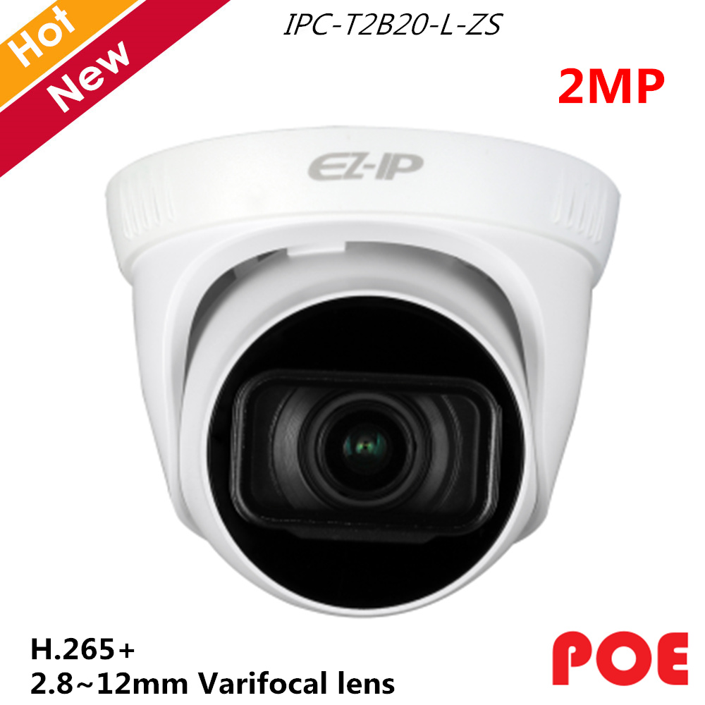 Dahua EZ-IP Series 2MP IR Turret Network IP Camera H.265+ Day/Night 2.8~12mm varifocal lens Support POE IPC-T2B20-L-ZSDahua EZ-IP Series 2MP IR Turret Network IP Camera H.265+ Day/Night 2.8~12mm varifocal lens Support POE IPC-T2B20-L-ZS