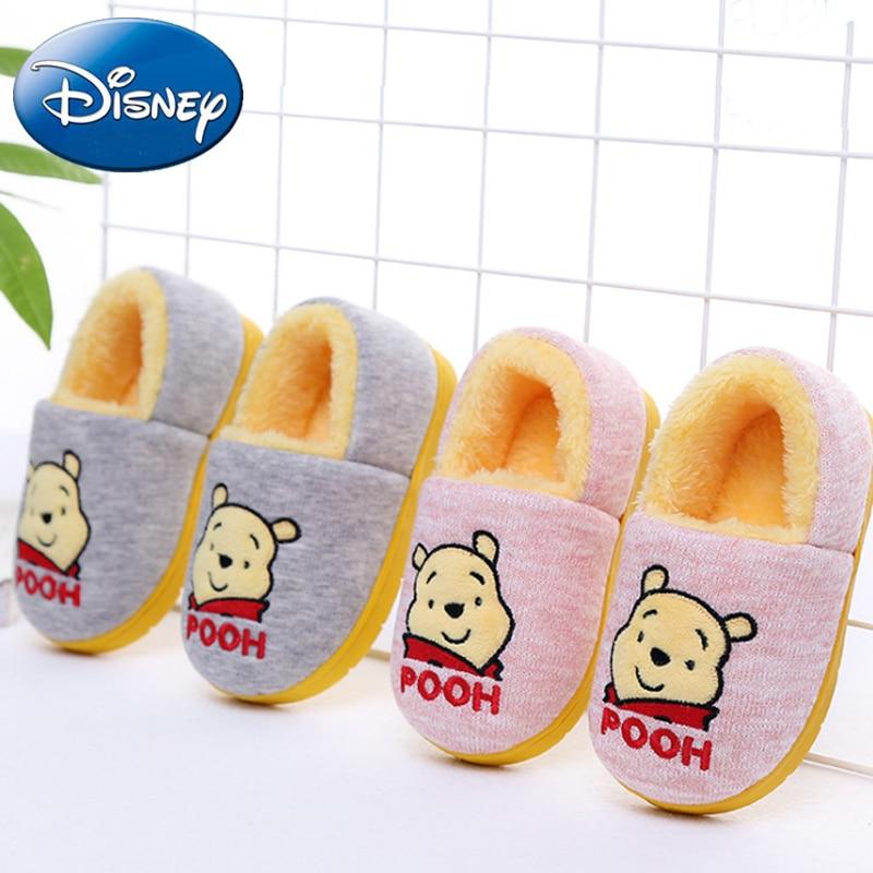 392e3341af08 Disney Kid Cotton Shoes Girls Boy Cartoon Winnie the Pooh Home Slippers  Children Non-slip Thick Warm New Family Indoor Slipper