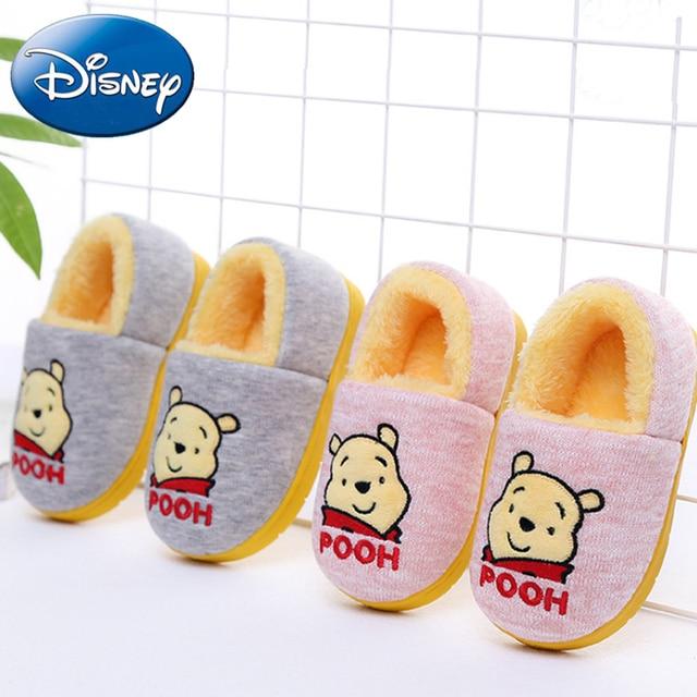 e1027095c86 Disney Kid Cotton Shoes Girls Boy Cartoon Winnie the Pooh Home Slippers  Children Non-slip Thick Warm New Family Indoor Slipper