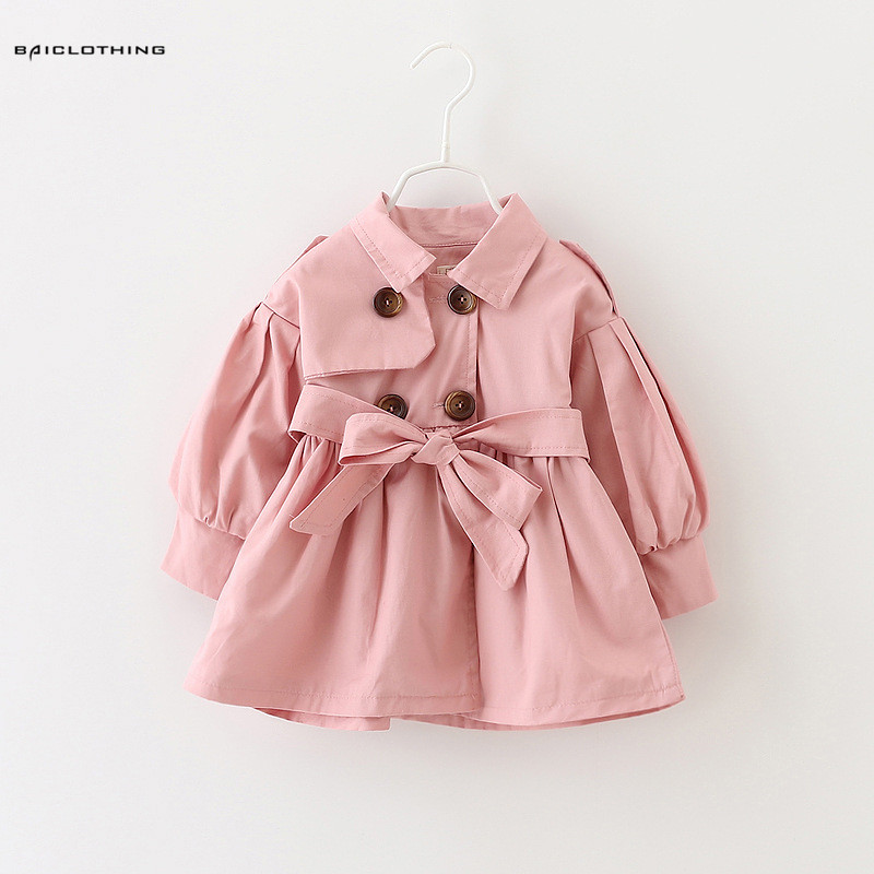 Clearance Sale Baby Girls   Trench   Children Fashion Full Sleeve Outerwear Coat Kids Autumn Spring Jacket 18M-4T 4 Colors