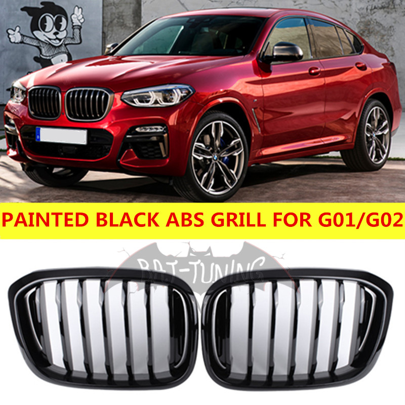 1 Fin Painted Black ABS <font><b>Grill</b></font> For <font><b>BMW</b></font> <font><b>G01</b></font> G02 <font><b>X3</b></font> X4 Front Bumper Kidney Grille Styling xDrive20i xDrive30i 2018+ image
