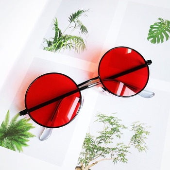 Fashion Vintage Metal Round Sunglasses Women Luxury Brand Design Color Coated Glasses Retro Oculos De Sol