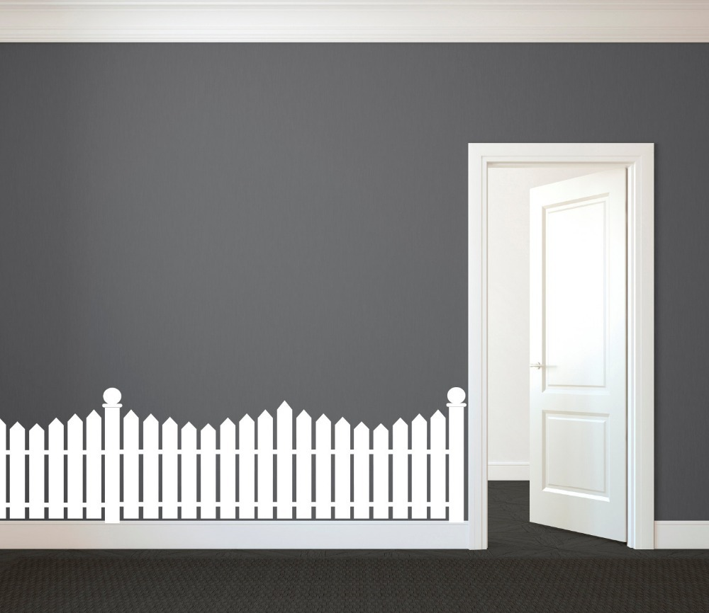 3size White Picket Fence Pattern Stencil Glue Vinyl Wall