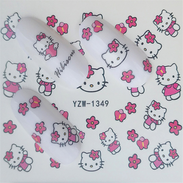 2sheets Hello Kitty Nail Art Stickers Hot Pink Cartoon Nailart Water