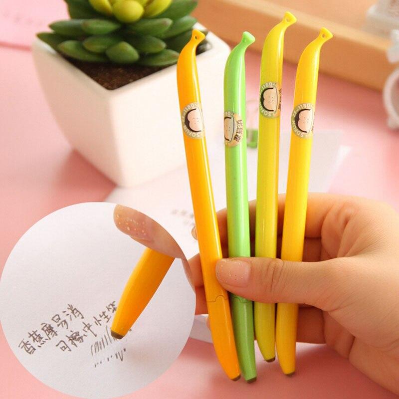 H37 2X Lifelike Banana Erasable Gel Pen Rollerball Pen Stationery School Supply Signing Pen 0.38mm