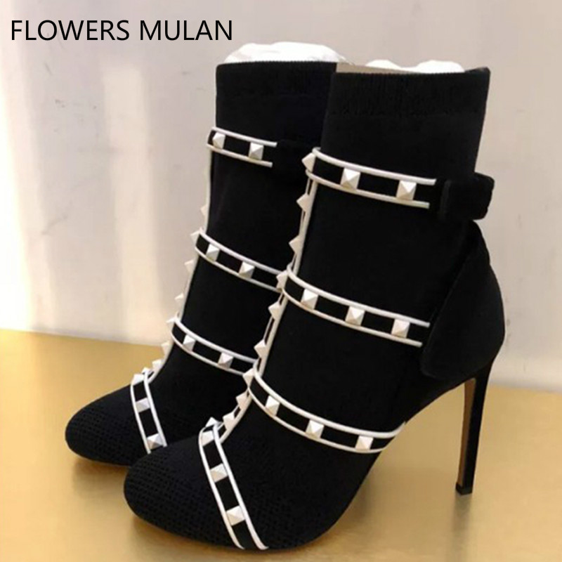 Botas Femininas Round Toe Women Shoes Street Fashion Four Straps Stretch Fabric With Leather Women Boots Studded High HeelsBotas Femininas Round Toe Women Shoes Street Fashion Four Straps Stretch Fabric With Leather Women Boots Studded High Heels