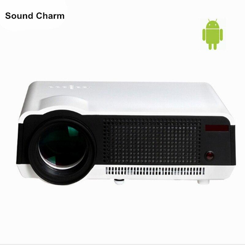 Spedizione gratuita! miglior 5500 Lumens Digital TV Ha Condotto Il Proiettore 1080 P Android 4.4.2 WiFi Intelligente LCD HD Video 3D Proiettore per Europeo