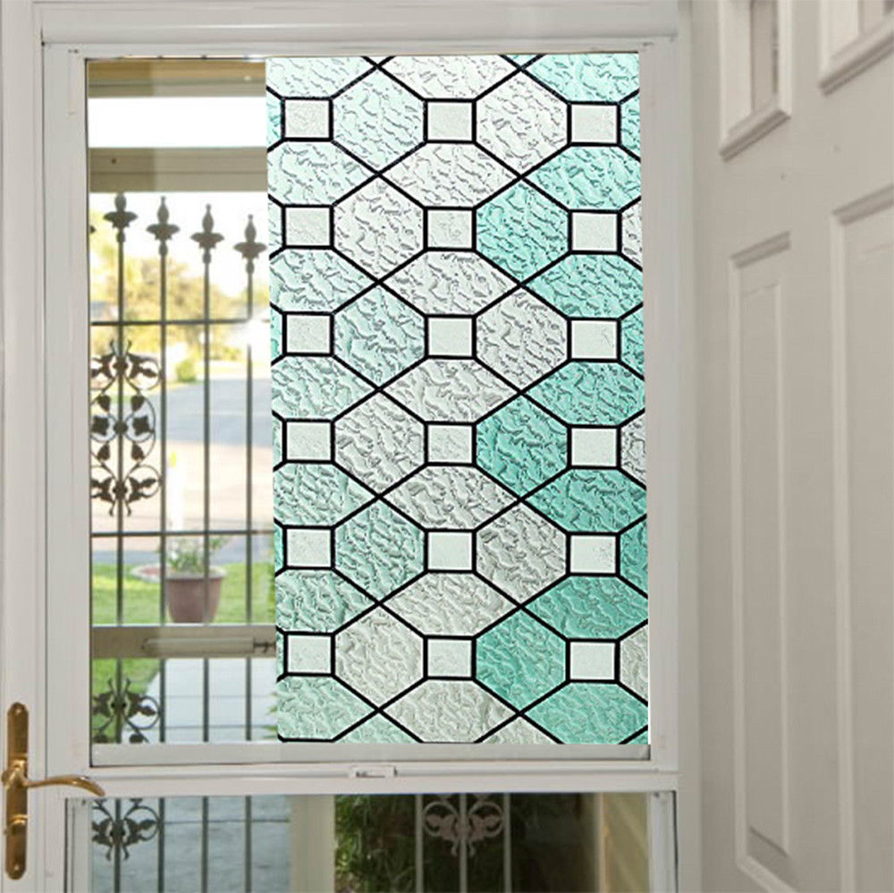 92 cm * 500 cm 2D statique fenêtre Film vitrail Film étanche pas adhésif verre décor pour salle de bain 36 ''x 196.8''