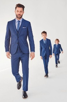 Moda Azul Padre E Hijo Trajes 3 Unidsset Trajes Formales Para