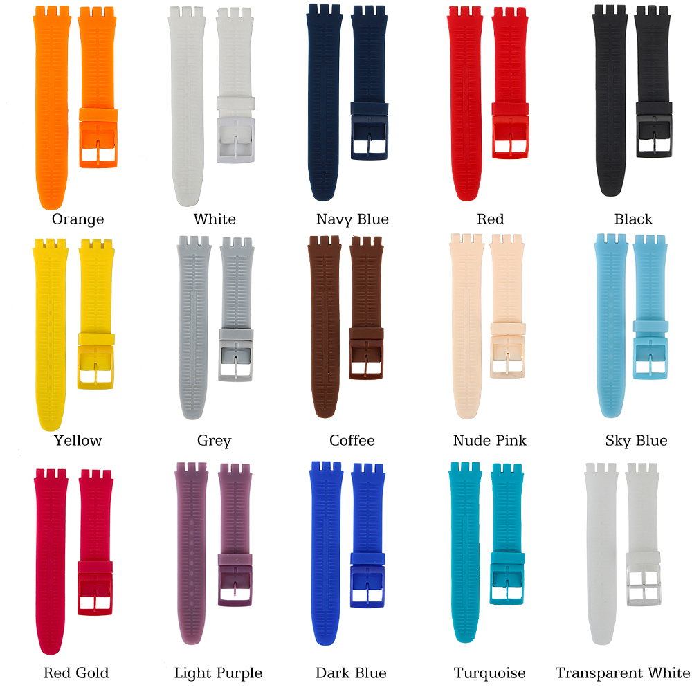 High Quality Watch Accessories 17mm 19mm 20mm Rubber Strap Men Women watchband for Swatch Colorful Rubber strap plastic buckle все цены
