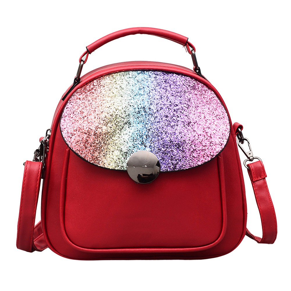 Fashion Women Sequined Shoulder Bag Zipper Preppy Style Messenger Bag Travel Bag Student Bag Mochilas FemininaFashion Women Sequined Shoulder Bag Zipper Preppy Style Messenger Bag Travel Bag Student Bag Mochilas Feminina