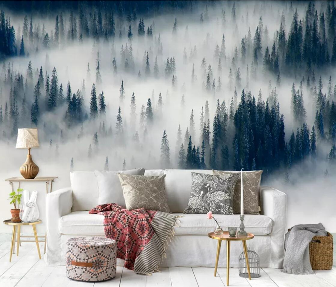 Misty Forest Wall Mural Large Photo Wallpaper For Living Room Hand Painting Foggy Forest Wallpapers Roll Wall Paper 3d Custom Wallpapers Aliexpress