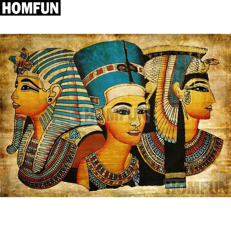 HOMFUN perceuse carrée ronde 5D diy | Peinture au diamant pour bricolage, peinture en forme degypte Pharaoh