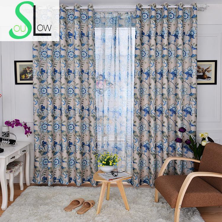 Slow Soul Red Blue Thick Shading Cloth Pastoral Floral Curtains Tulle For  Living Room Kitchen Bedroom  Blue Floral Curtains