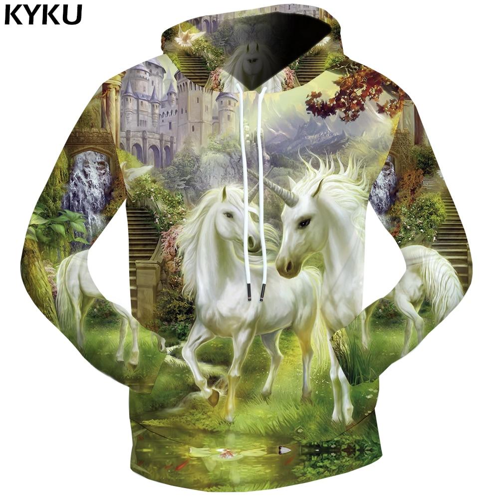 KYKU Unicorn Sweatshirts Dream 3d hoodies Castle Sweatshirts Male Jungle Sweat shirt Hoodie Clothing Men Streetwear Pocket