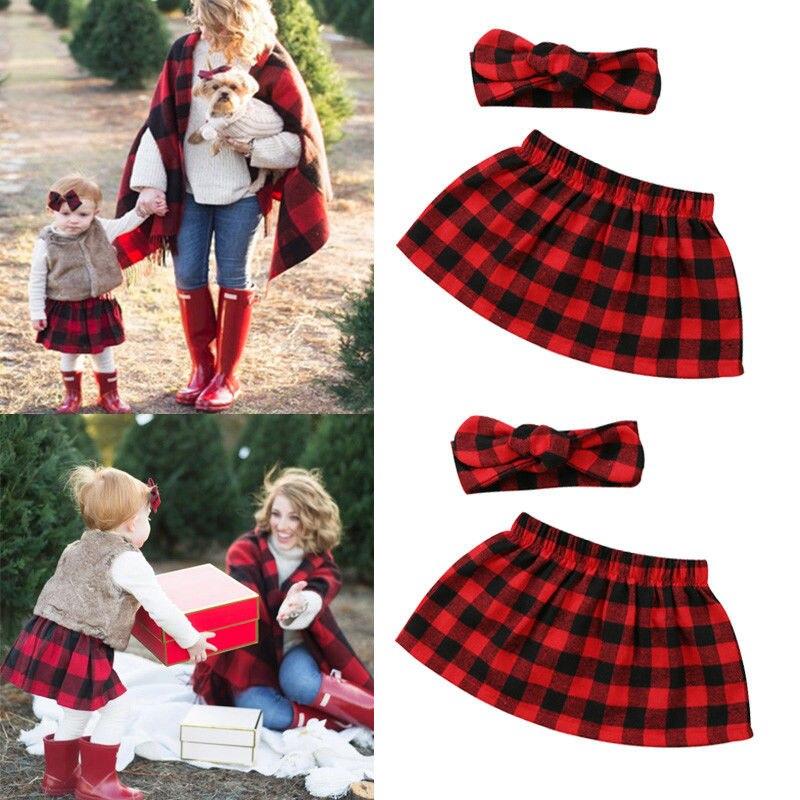 Baby Kleidung Weihnachten Neugeborenen Baby Mädchen Plaid Röcke + Stirnband 2 Stücke Outfits Set Baby Kleidung Rot Novel (In) Design;