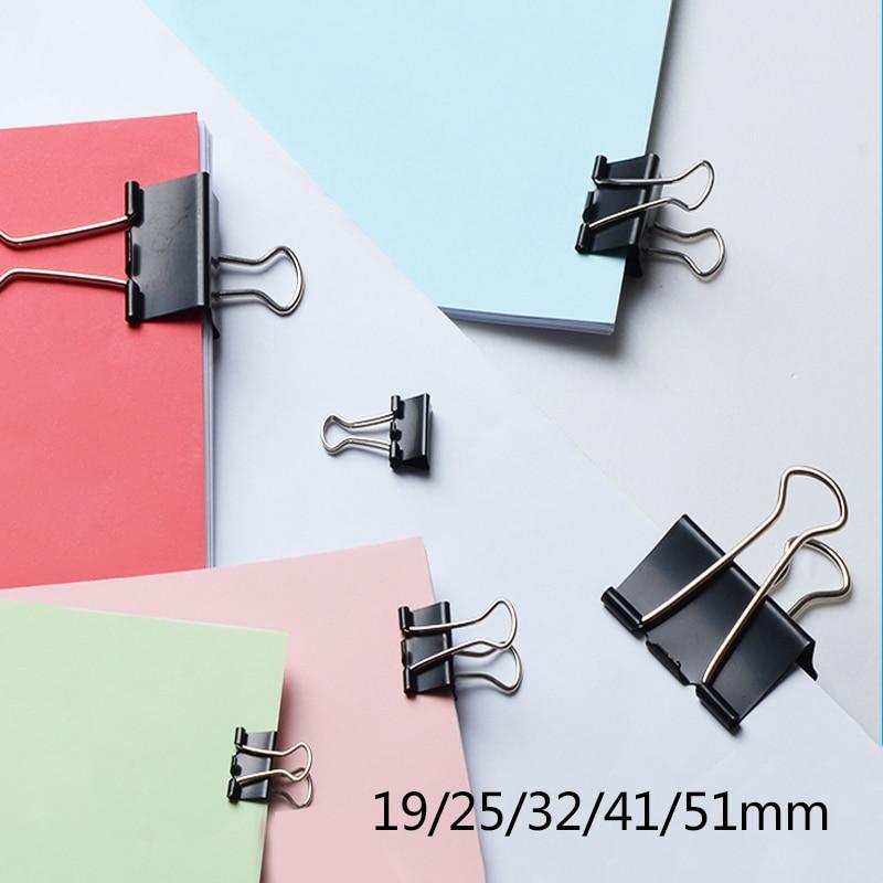 6PCS Black Metal Binder Clips 15/19/25/32/41/51mm Notes Letter Paper Clip Office Supplies Binding Securing Clip Product shoulder bag