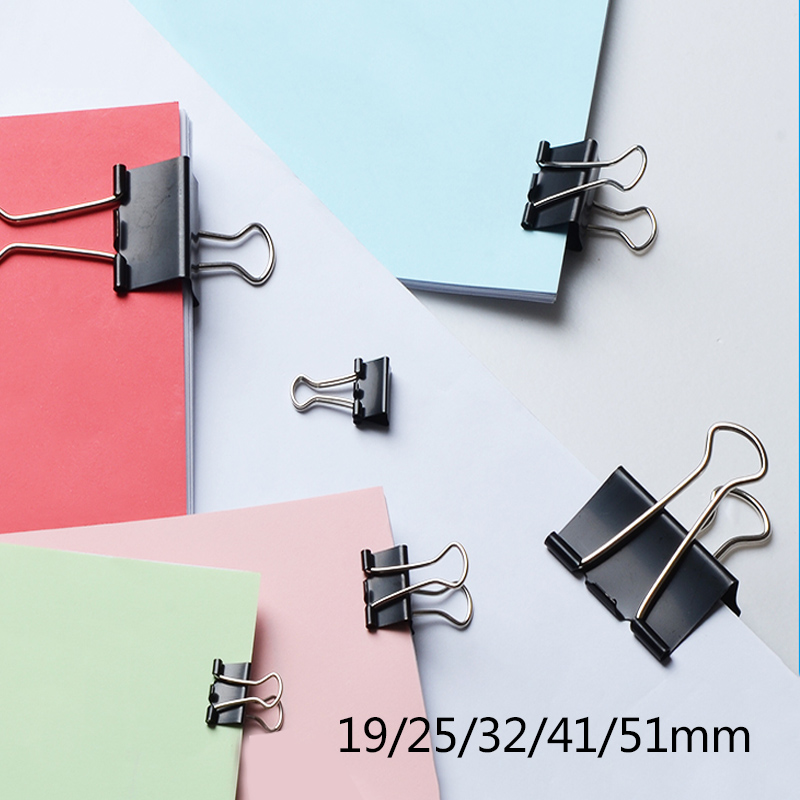 6PCS Black Metal Binder Clips 15/19/25/32/41/51mm Notes Letter Paper Clip Office Supplies Binding Securing Clip Product