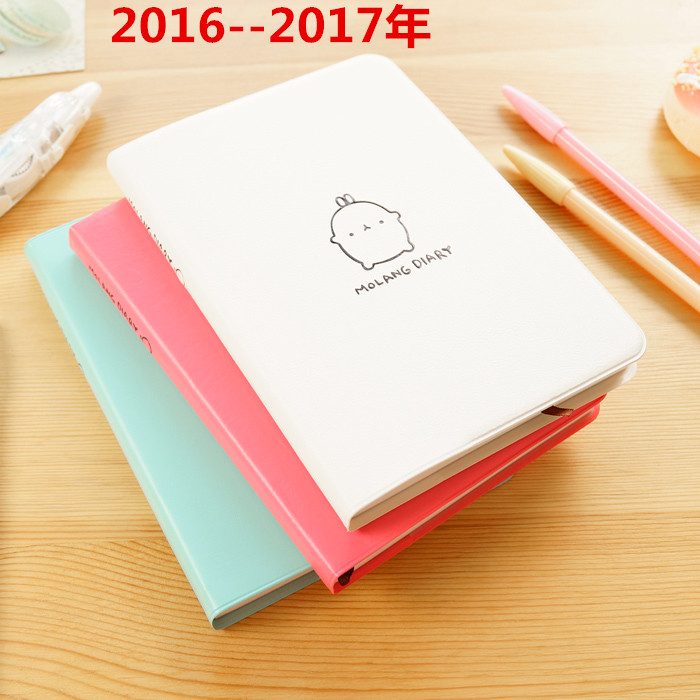 Mercii 2016-2017 Cute Kawaii Notebook Cartoon Molang Rabbit Journal Diary Planner Student Notepad Gift Stationery Covers cute kawaii cartoon rabbit journal notebook diary planner notepad for kids gift korean stationery wj0014