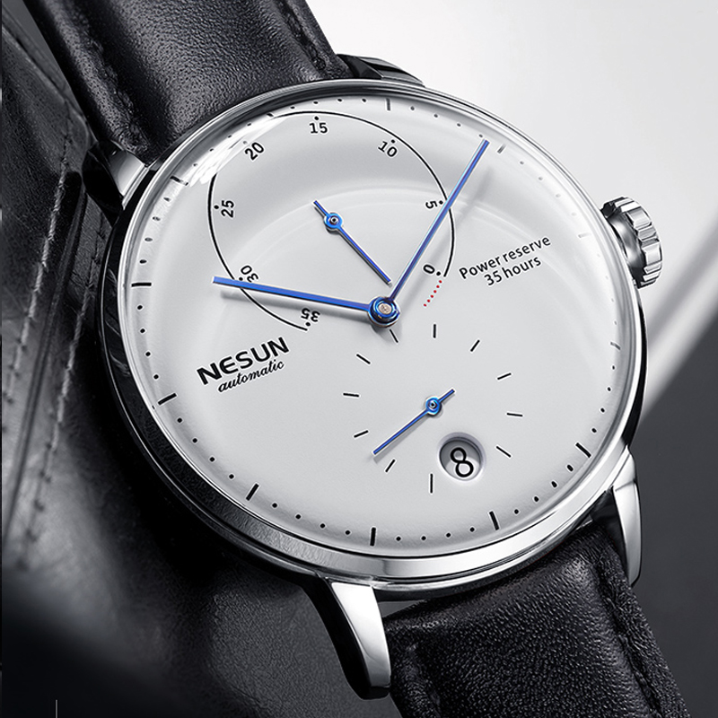 NEW Nesun Mens Watches Brand Luxury Automatic Mechanical Watch Leather Sapphire Waterproof Relogio Masculi Energy Display N9603