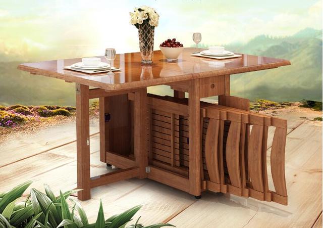 תוספת טלסקופי בית שולחן אוכל שולחן מתקפל דירות קטן עץ מלא פשוט רגל רב FN-04