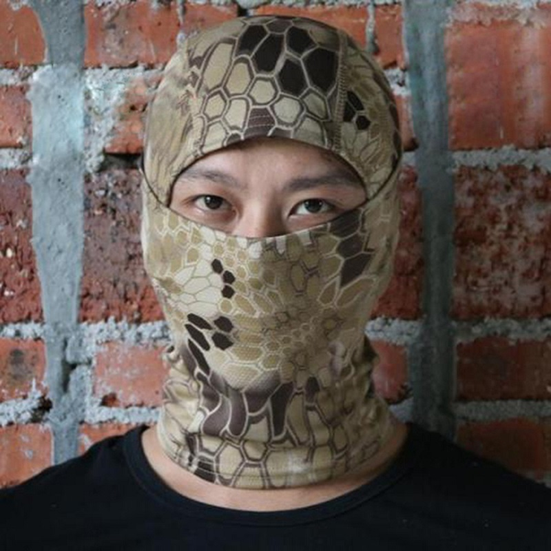 Rattlesnake Camouflage Tactical Headwear Face Cosplay Balaclava Ninja Mask Motorcycle Hunting Skiing Cycling Full Hood Face Mask 3 color camouflage tactical face paint sticks 20ml