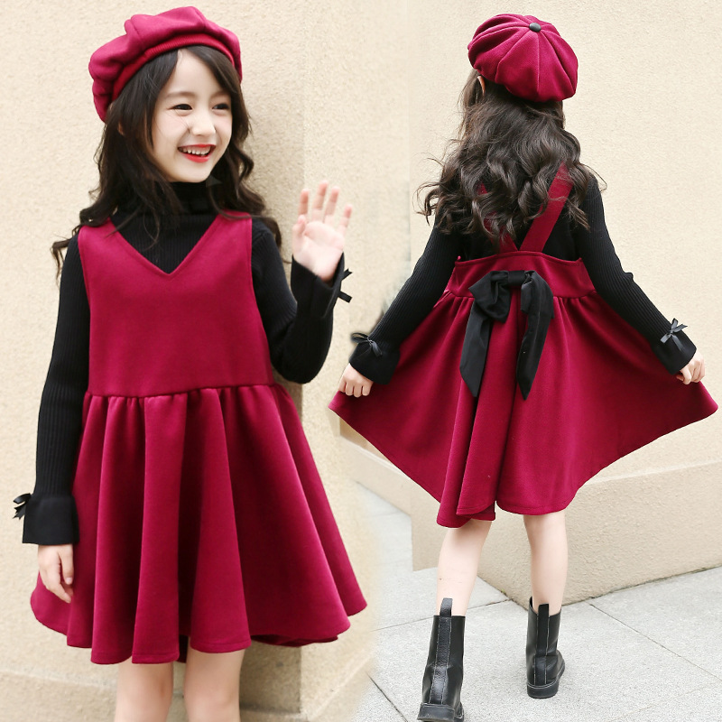 Retail 2018 Brand New Design Girls Winter Thick Princess Bow Red V-Neck Sleeveless Dress For School Girls Cute Party Dress original brand lalaloopsy dress yarn design false two dumbo sleeve queen girls party striped dress school girls princess dress