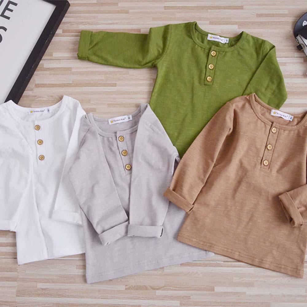 2017 Boys Solid T Shirt Kids Cotton Long Sleeve Girls Tee