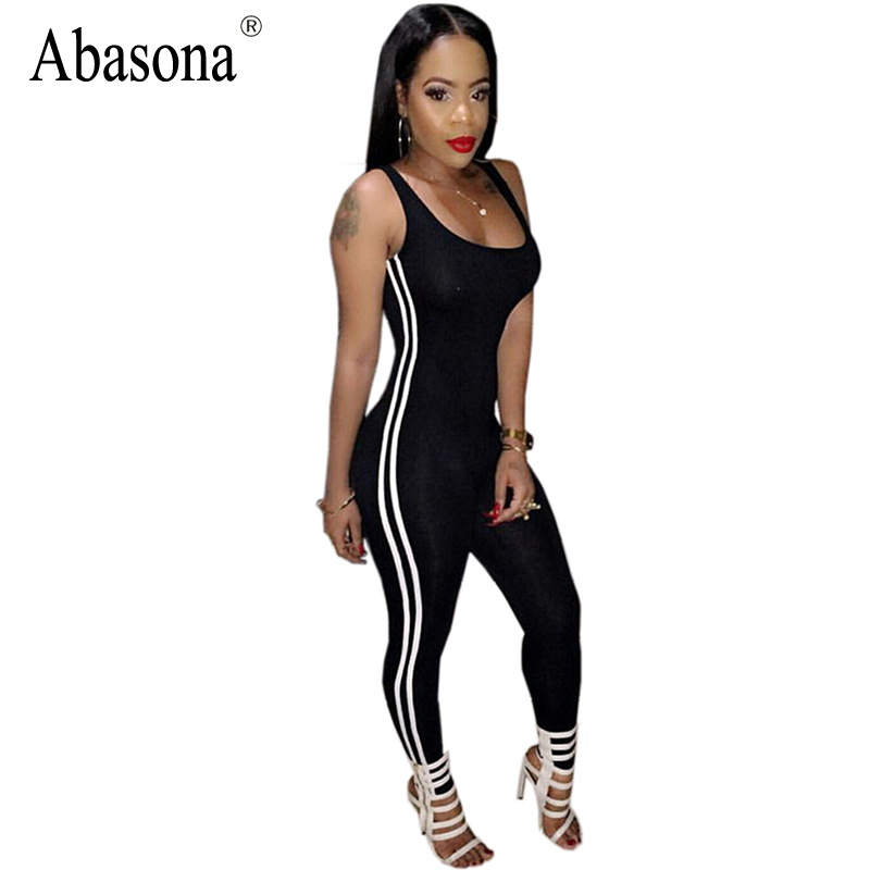 Summer Sleeveless Backless Sexy Bodycon Wear Black White Stripe Long Pants Rompers Womens Jumpsuit Bodysuit Overalls