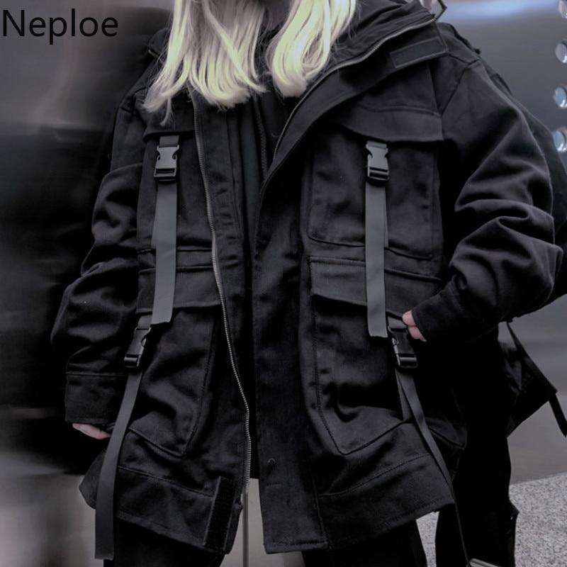 Neploe Korean Streetwear Harajuku Black Denim Jacket Oversized Pockets Women Jeans Jackets Loose BF Vintage Casual Coats 39106