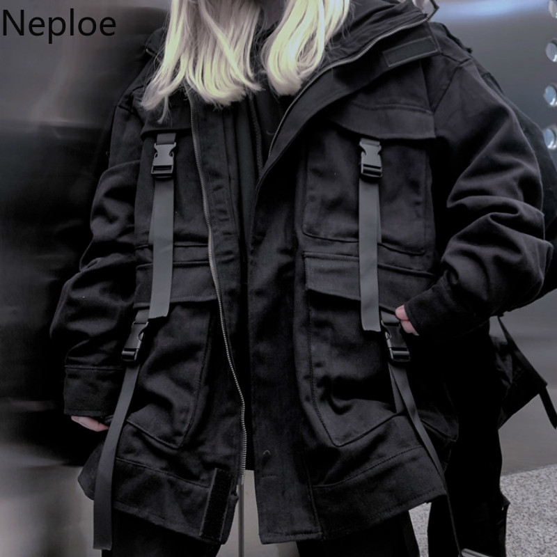 Neploe Korean Streetwear Harajuku Black Denim Jacket Oversized Pockets Women Jeans Jackets Loose BF Vintage Casual Innrech Market.com