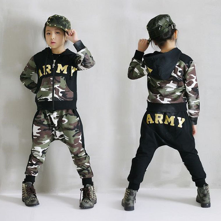 ФОТО New Spring Camouflage Kids Clothing Set for Boys Girls Spring&Autumn Cotton Uniform Boys Sports Set Active Girls Clothing Sets