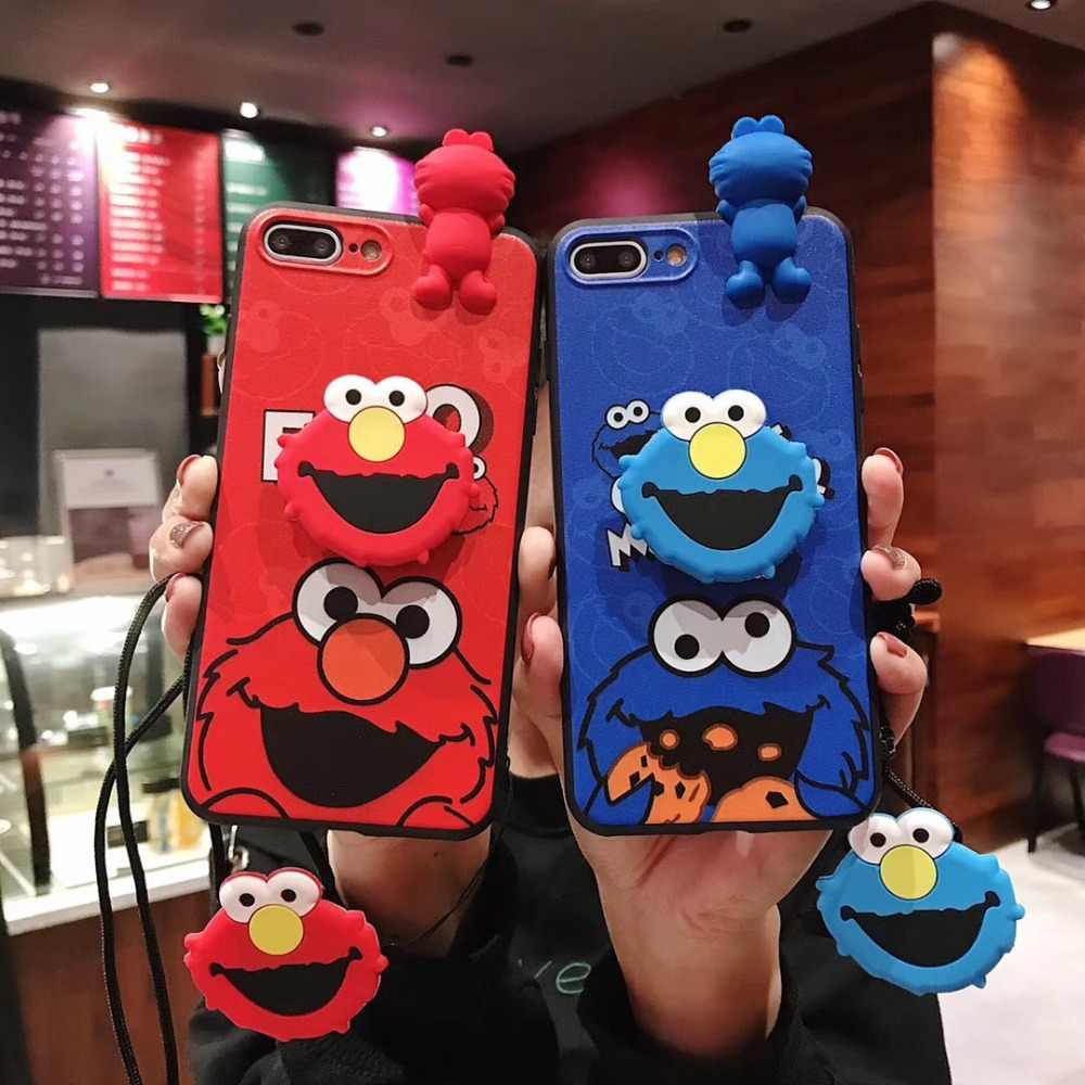 Cartoon Cute Elmo Cookie Monsters 4 in 1 Case+Lanyard+Holder+Doll For iphone 6 s 7 8 8Plus X XS XR MAX Soft Silicon Phone Cover