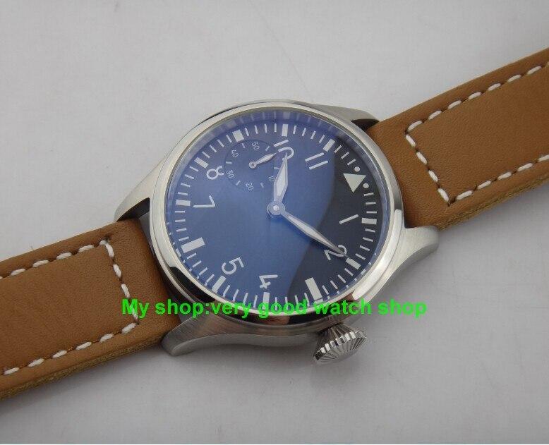 c7a7827a662 47mm Big dial PARNIS pilot 6497 3600 gooseneck tubo de Enrolamento Movimento  Negro Dial Relógio de Pulso de Alta qualidade luminosa homens relógio 117  em ...