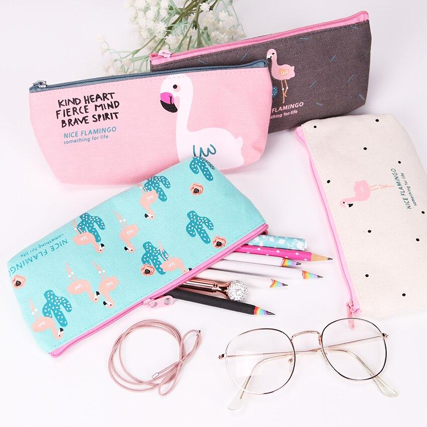 1PC Cute Kawaii Pencil Case for Girls Flamingos Canvas School Supplies Kids Korean Stationery Pencil Bag School Pen Box