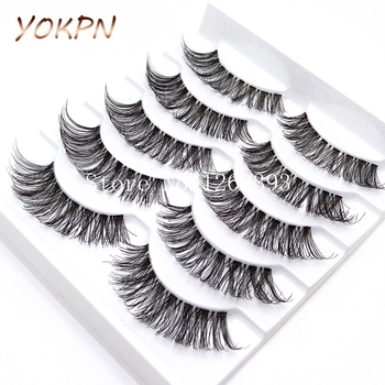 YOKPN 5 Pairs Transparent False Eyelashes Messy Cross Thick Natural Fake Eye Lashes Makeup Tips Bigeye Long False Eye Lashes 1