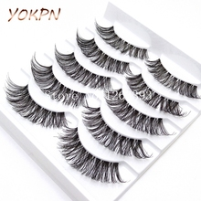 YOKPN 5 Pairs Transparent False Eyelashes Messy Cross Thick Natural Fake Eye Lashes  Makeup Tips Bigeye Long False Eye Lashes