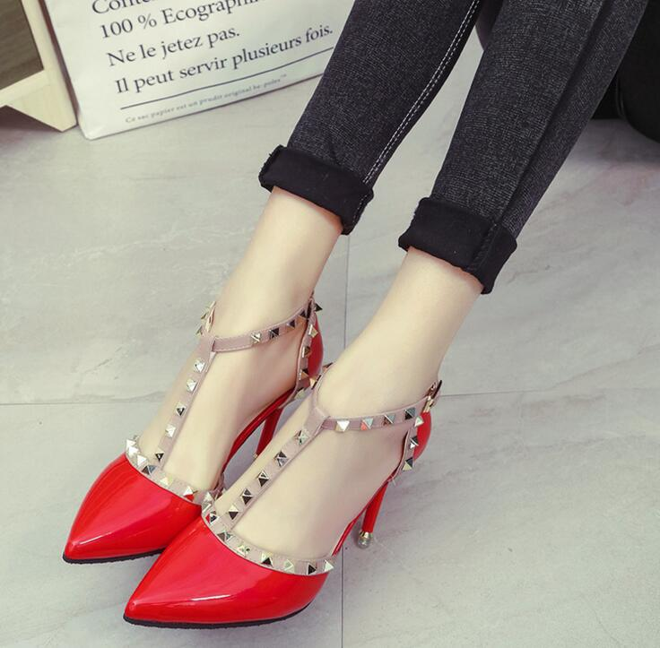 US $12 42 25% OFF|XDA 2019 NEW woman High heels shoes Ladies Sexy Pointed  Toe women pumps Buckle rivets nude heels shoes free shipping-in Women's