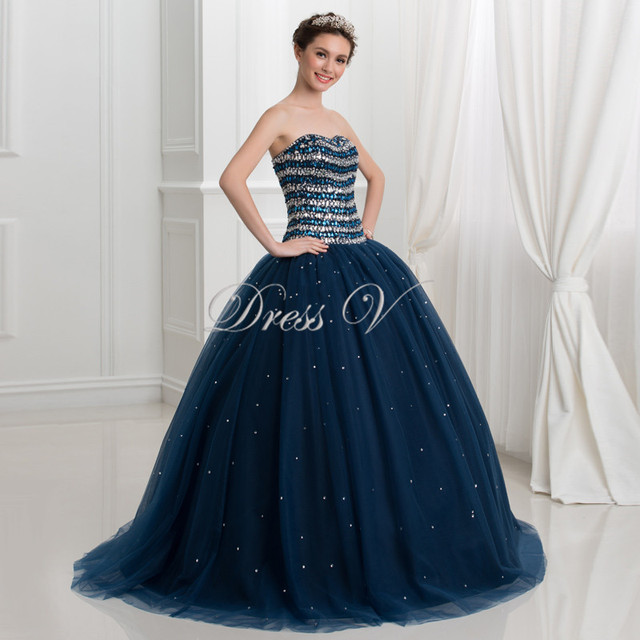 abd45572f5029 US $252.0 |Luxurious Navy Blue Ball Gown Quinceanera Dresses 2017 Tulle  Crystal Beaded Princess Sweet 16 Dress Plus Size Vestidos Debutante-in ...