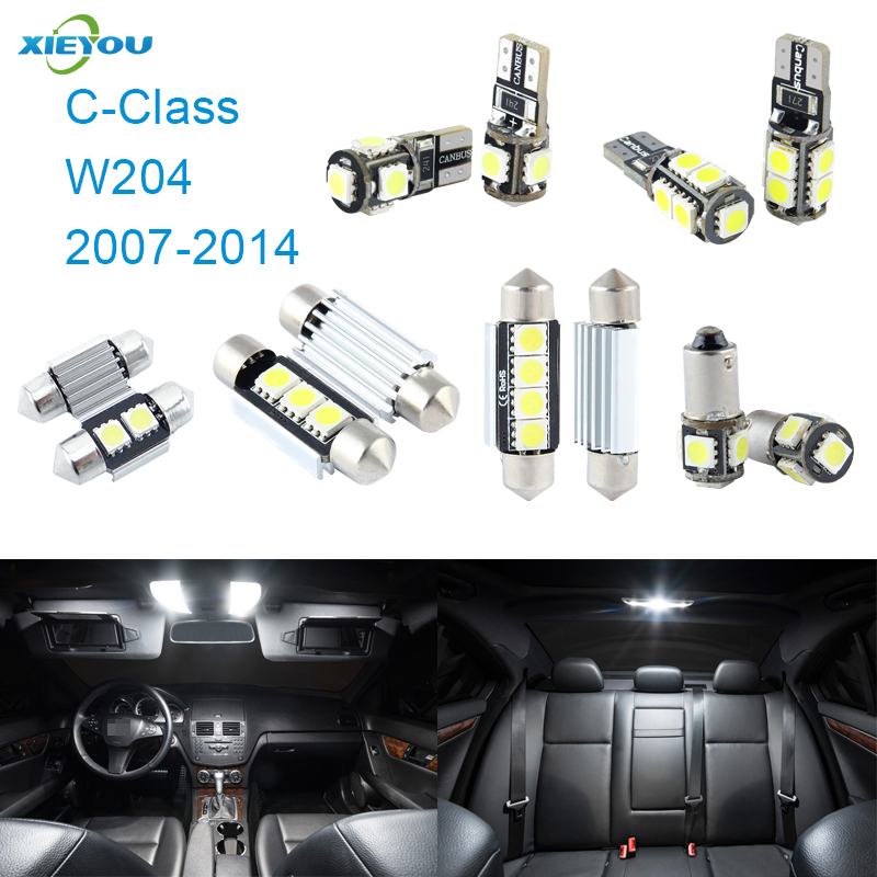 XIEYOU 16pcs LED Canbus Interior Lights Kit Package Para C-Class W204 (2007-2014)