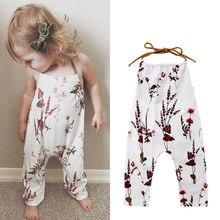 PUDOCO/Летний цельный комбинезон на бретельках с цветочным принтом для новорожденных девочек; летние комбинезоны на бретельках; повседневная одежда; От 1 до 5 лет