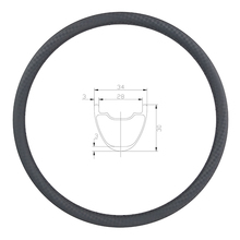 350g 29er MTB XC 34mm tubeless carbon rim 30mm deep 24 28 32 Holes UD 3K 12K 3K twill matte glossy 29in clincher hookless wheel