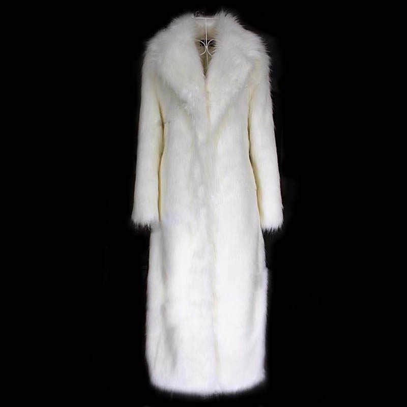 冬の新スタイルのファッションの高級ウォメ女性人工毛皮のコート豪華なキツネの毛皮ウインドブレーカーホワイトフェイクファーコート上着