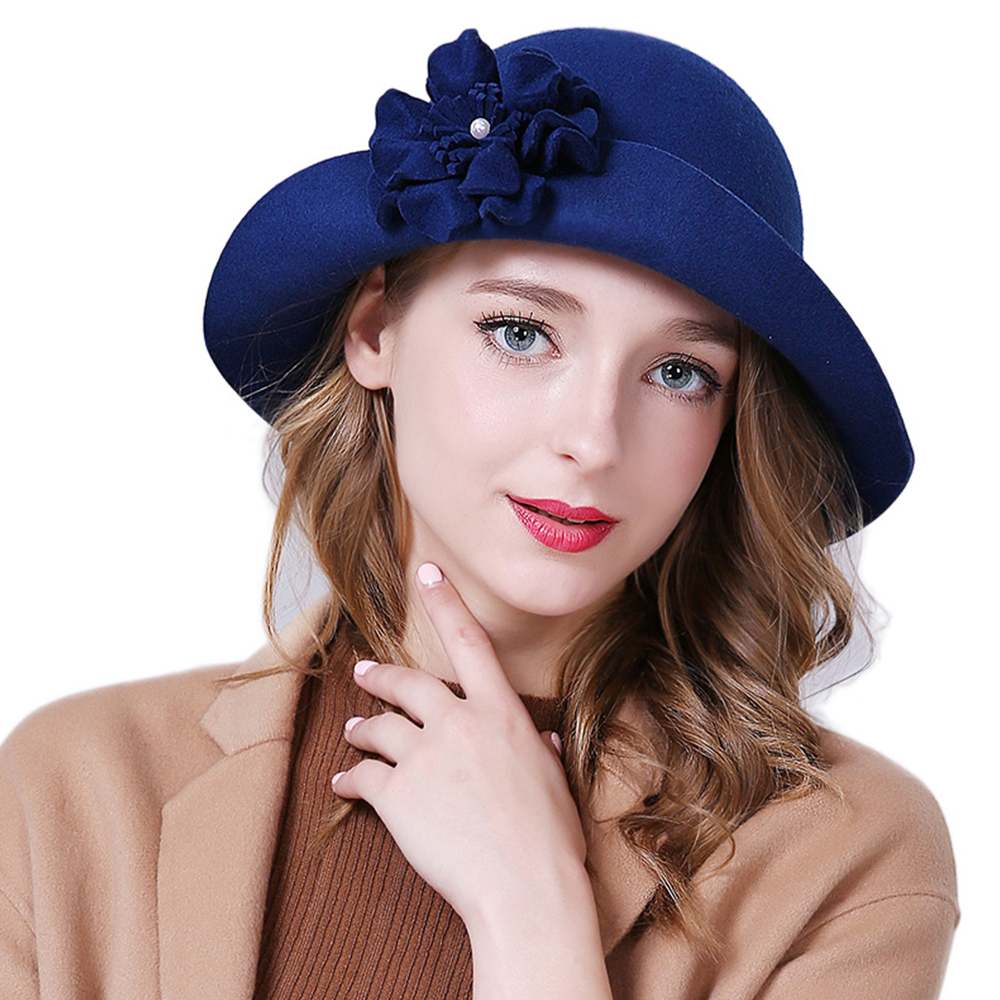 Ladies Fascinator Hats Floral Wool Fedoras Hats for Women Winter Royal Princess Church Caps Party Fascinator Blue Bowler Hat