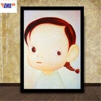 90X70 см Нара Yoshitomo мультфильм Граффити настенная живопись творческий Кофейня твердая деревянная рамка картина плакат украшения X1168
