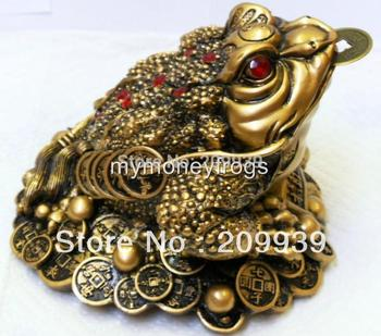 huij 0044 NEW Oriental Lucky Wealth Large Brass Feng Shui Money Chinese Coin Frog #L2
