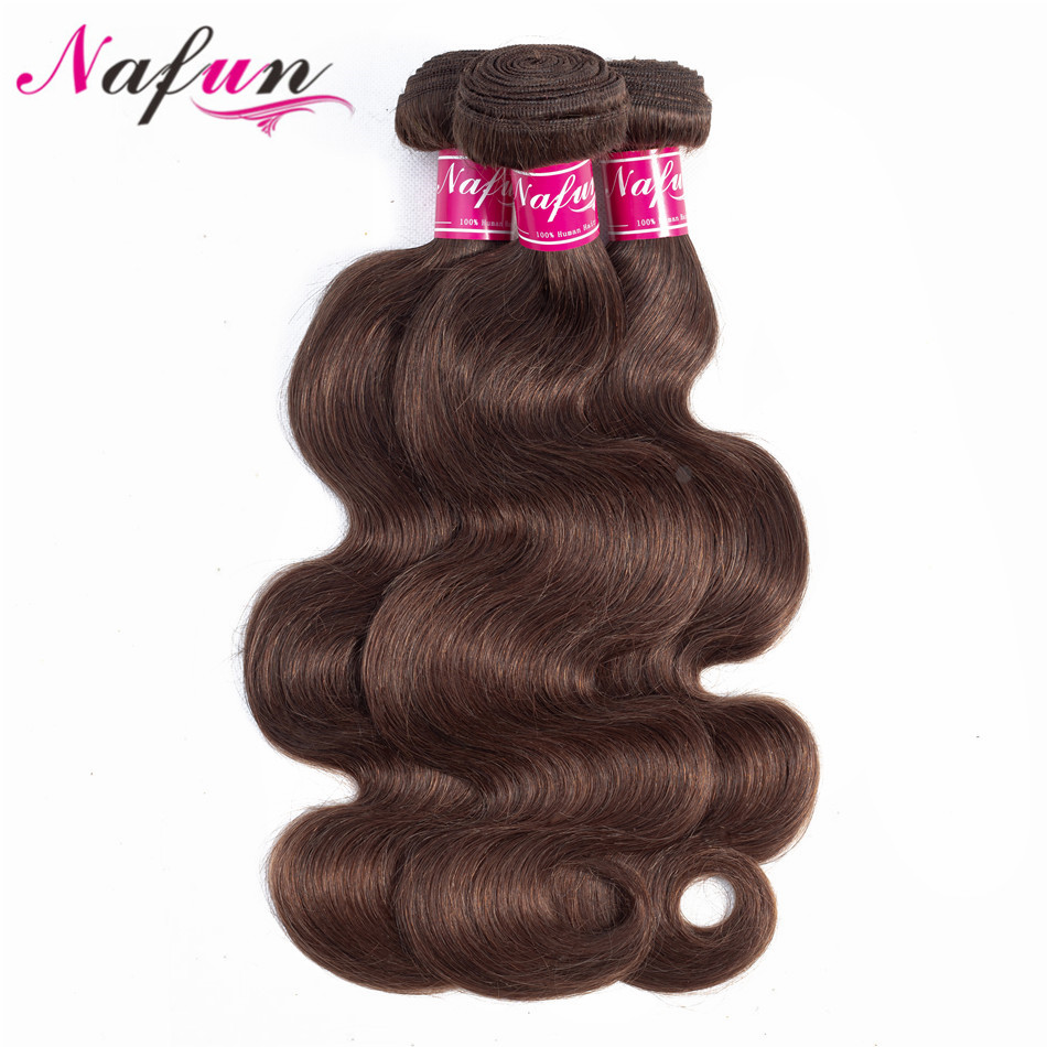 NAFUN Hair Brazilian Human Hair 3 Pcs Bundles Body Wave Weave Non Remy Human Hair Extensions Free Shipping #4 10-26 Inches