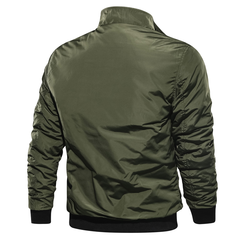 Image 2 - 2019 Spring Autumn Men ' s Military Bomber Jackets Men Casual Solid Zipper Pilot Jacket New Thin Stand Collar Male Coat Slim Fit-in Jackets from Men's Clothing