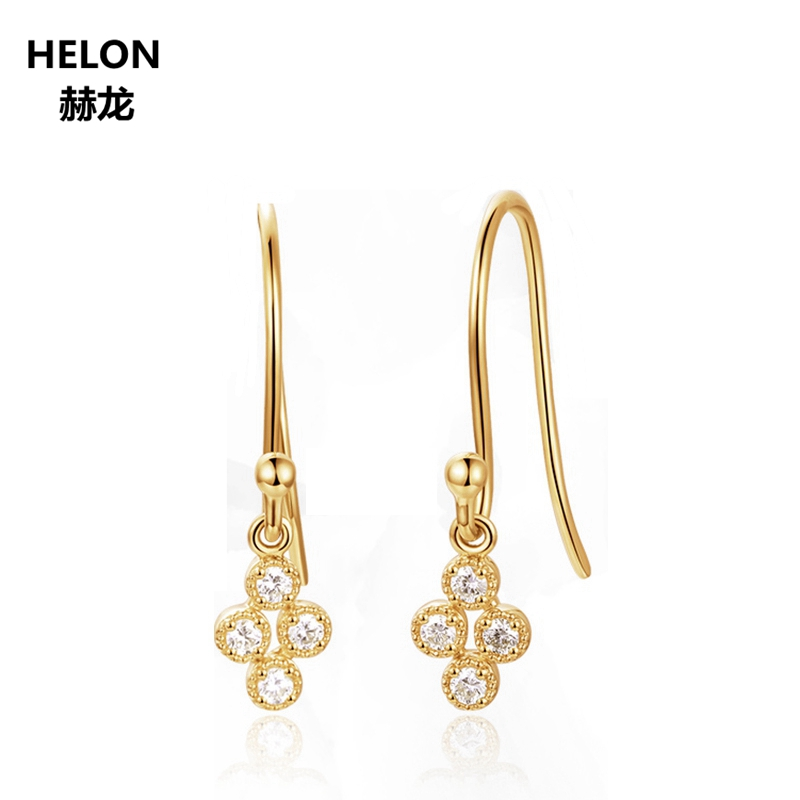 Solid 14k Yellow Gold Women Earrings 100 SI H Full Cut Natural Diamonds Drop Earrings Unique